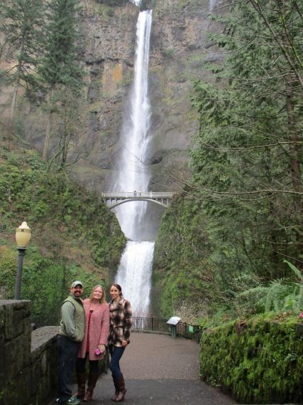 Visiting the Multnomah Falls in OR with friends after I spoke at a retreat in Cannon Beach.