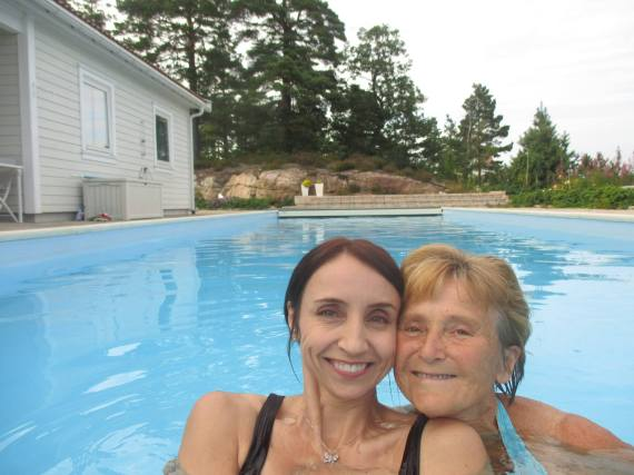 Trying out my mom's new pool at her home in Tvedestrand, Norway.